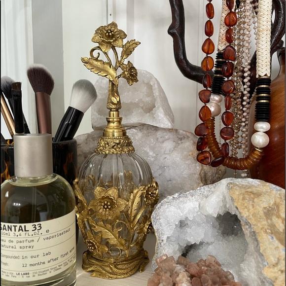 Vintage Rose Ormulu Gold Plated Filigree Bottle